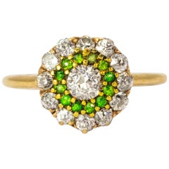 Vintage Diamond and Demantoid Garnet 18 Karat Gold Cluster Ring