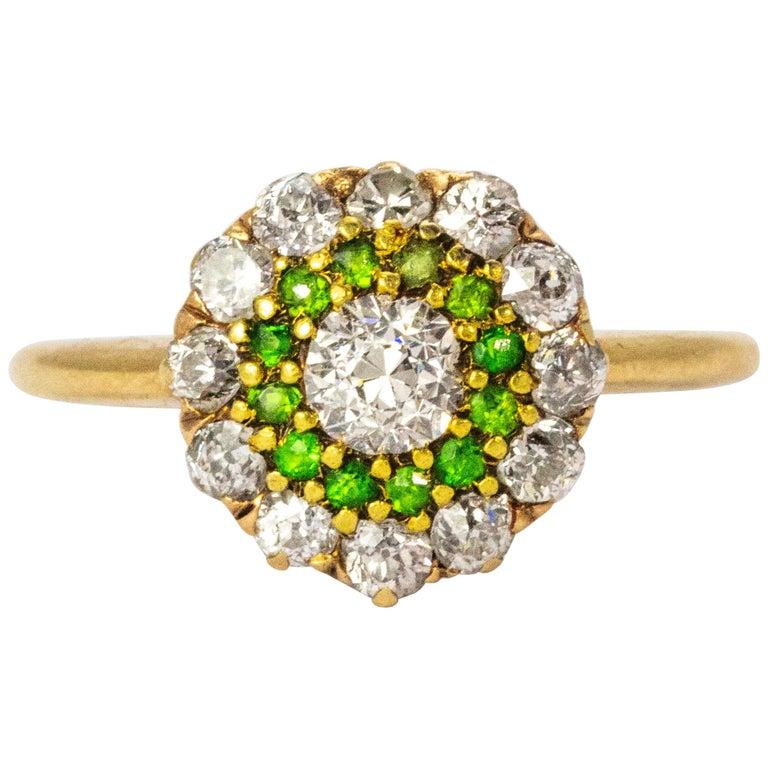 Vintage Diamond and Demantoid Garnet 18 Karat Gold Cluster Ring For Sale