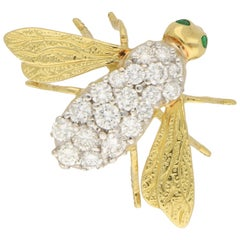 Vintage Diamond and Emerald Insect Brooch Set in 18k Yellow and White Gold