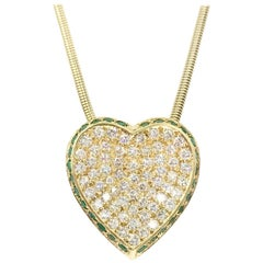 Vintage Diamond and Emerald Heart Slide Pendant 1.21 Carat Total Weight