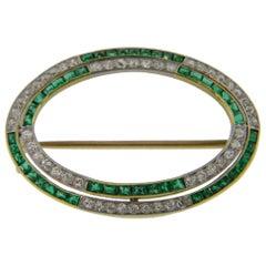Vintage Diamond and Emerald Oval Brooch 18ky & Platinum