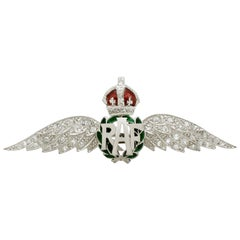 Vintage Diamond and Enamel White Gold 'RAF' Regimental Brooch