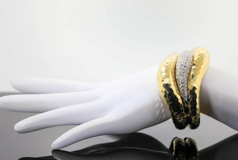 Women's Vintage Diamond and Gold Cuff Bangle For Sale