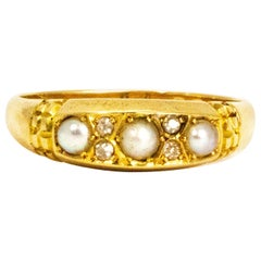 Vintage Diamond and Pearl 18 Carat Gold Band