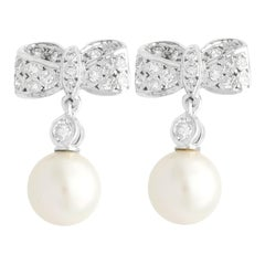 Vintage Diamond and Pearl White Gold Drop Earrings Circa 1940