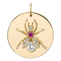 Vintage Diamond and Pink Sapphire Bee Motif Mounted on Yellow Gold Disc