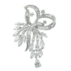 Vintage Diamond and Platinum Spray Brooch