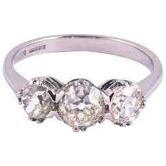 Vintage Diamond and Platinum Three-Stone Ring