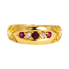 Vintage Diamond and Ruby 18 Carat Gold Ornate Band