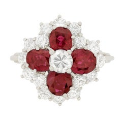 Vintage Diamond and Ruby Cluster Ring, circa 1970s