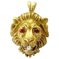 Vintage Diamond and Ruby Lion Head Pendant