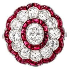 Vintage Diamond and Ruby Platinum Halo Cocktail Ring