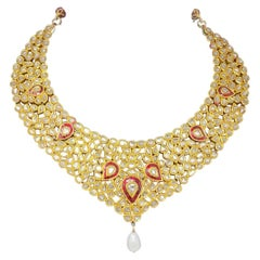 Vintage Diamond and Ruby Polki Bib Necklace with Pearl Drop in 18 Karat Gold