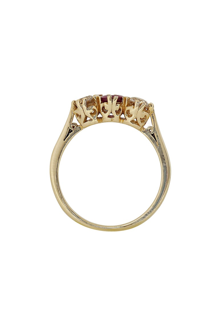 Art Deco Vintage Diamond and Ruby Three-Stone Ring For Sale