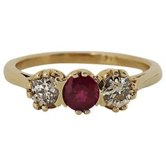Vintage Diamond and Ruby Three-Stone Ring