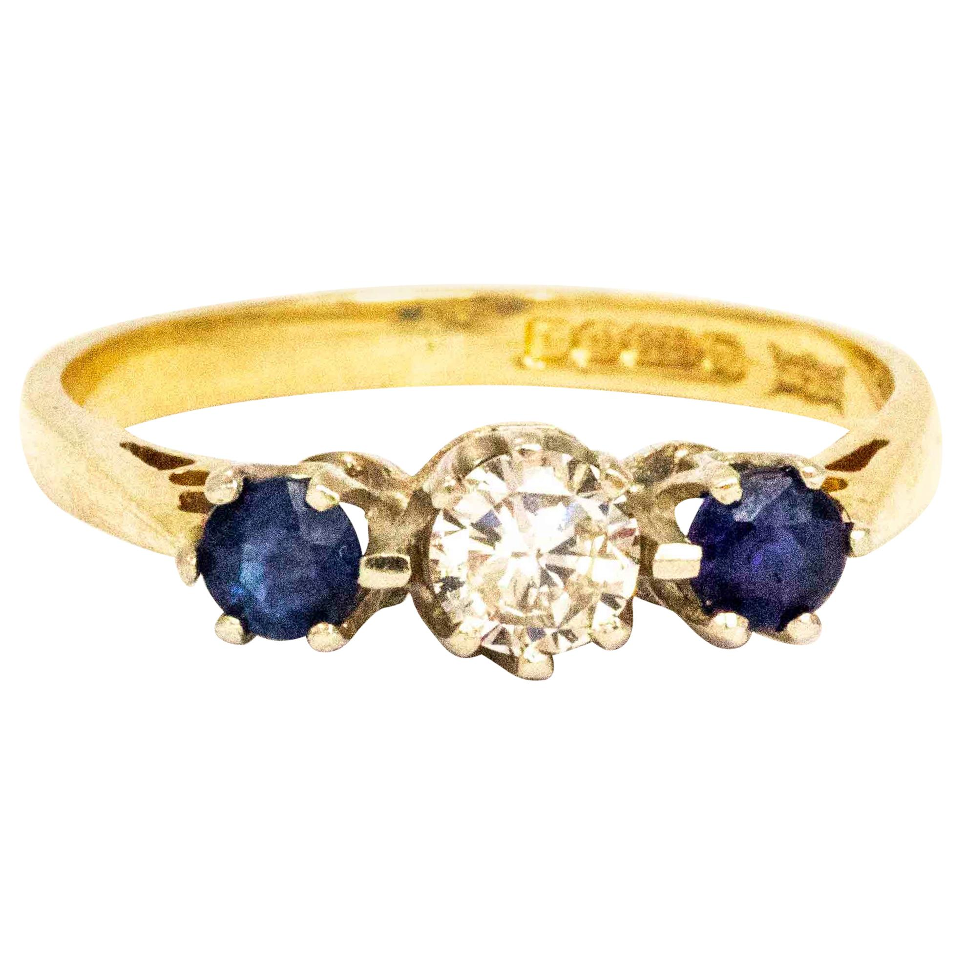 Vintage Diamond and Sapphire 9 Carat Gold Three-Stone Ring