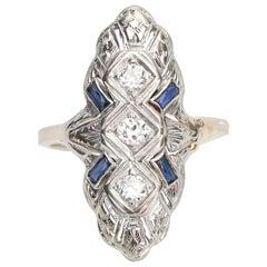 Vintage Diamond and Sapphire Navette Shield 14 Karat White Gold Ring