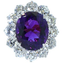 Vintage Diamond and Siberian Amethyst Platinum and Diamond Ring, circa 1915