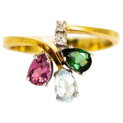 Vintage Diamond and Tourmaline 18 Carat Gold Ring