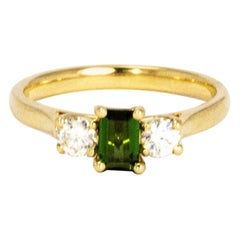 Vintage Diamond and Tourmaline 9 Carat Gold Three-Stone Ring
