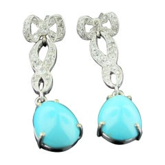 Vintage Diamond and Turquoise Drop Earrings