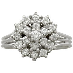 Vintage Diamond and White Gold Cluster Ring, circa 1960