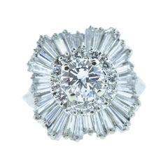 Vintage Diamond and White Gold Flower Motif Ring
