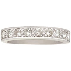 Vintage Diamond and White Gold Half Eternity Ring Circa 1970