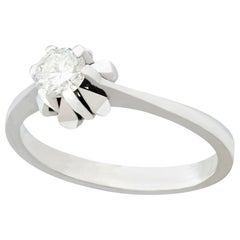 Vintage Diamond and White Gold Solitaire Ring, circa 1950
