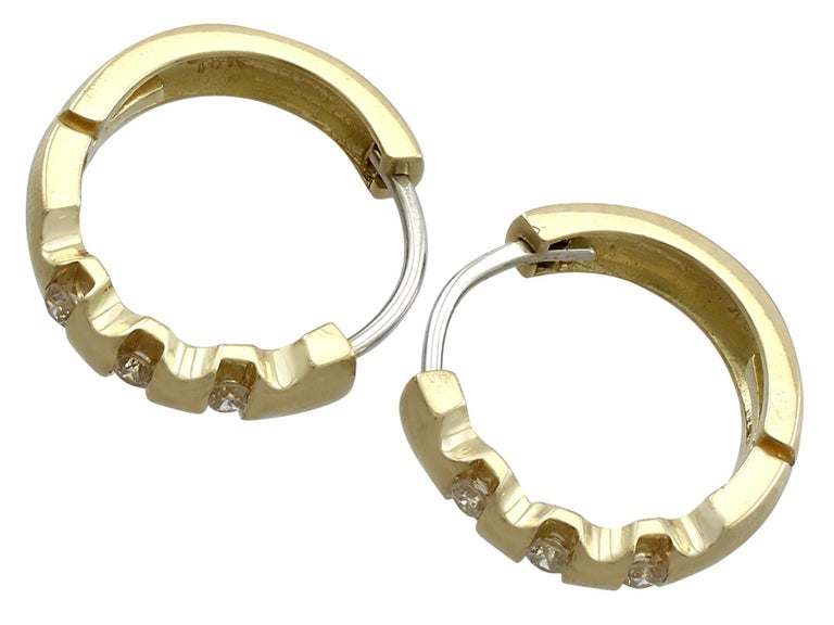 Women's Vintage Diamond and Yellow Gold Hoop Earrings Circa 1980 For Sale