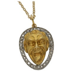 Vintage Diamond Joker Pendant Set in 14k Yellow Gold and Platinum