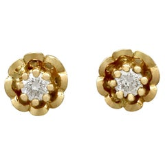 Vintage Diamond and Yellow Gold Stud Earrings, circa 1960