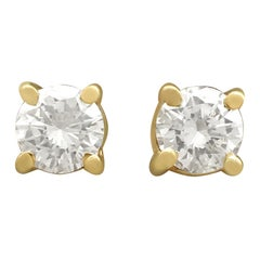 Vintage Diamond and Yellow Gold Stud Earrings, circa 1980