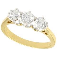 Vintage Diamond and Yellow Gold Trilogy Ring, circa 1970