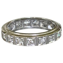 Vintage Diamond Anniversary Platinum Band Ring - Size 6 1/2