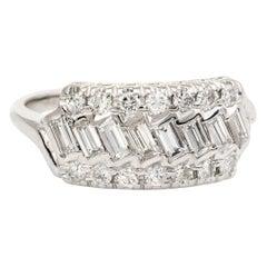 Vintage Diamond Anniversary Ring Mixed Cuts 14 Karat Gold 0.92 Carat Estate 8.25