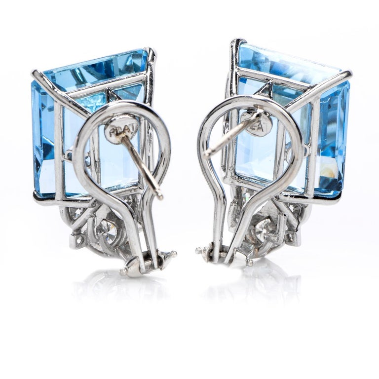 Art Deco Vintage Diamond Aquamarine Platinum Large Emerald Cut Clip Earrings