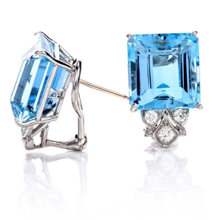 Vintage Diamond Aquamarine Platinum Large Emerald Cut Clip Earrings  In Excellent Condition In Miami, FL