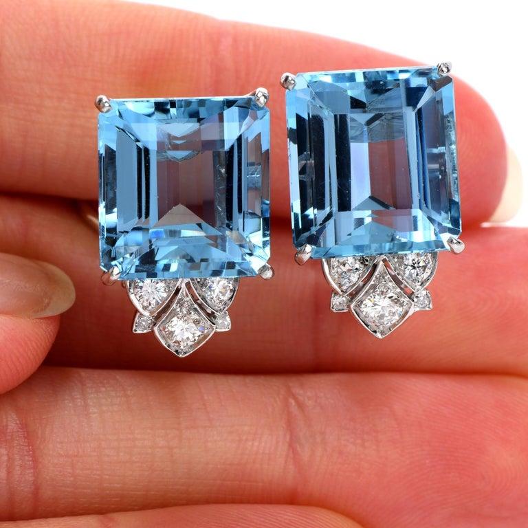 Women's Vintage Diamond Aquamarine Platinum Large Emerald Cut Clip Earrings