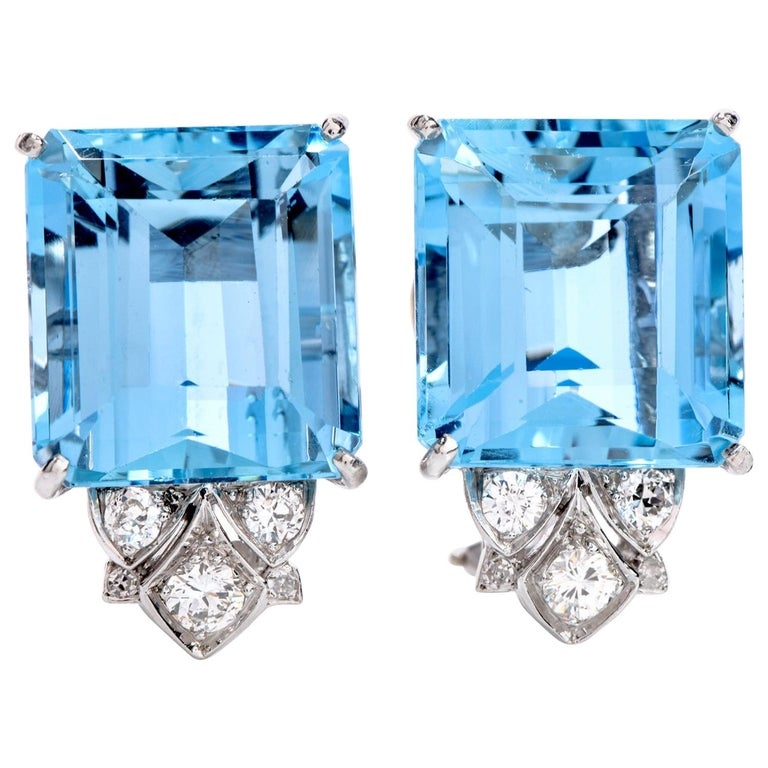 Vintage Diamond Aquamarine Platinum Large Emerald Cut Clip Earrings