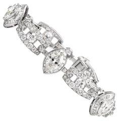 Vintage Diamond Art Deco 18 Karat White Gold Link Line Bracelet