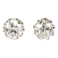 Vintage Diamond Art Deco Ear Studs, 1920s