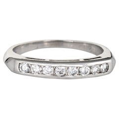 Vintage Diamond Band 14 Karat White Gold Estate Fine Jewelry Wedding Ring