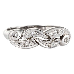 Vintage Diamond Band 14 Karat White Gold Estate Ring Jewelry Scrolled Design