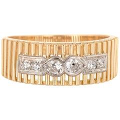 Vintage Diamond Band 18 Karat Yellow Gold Ring Estate Fine Wedding Jewelry