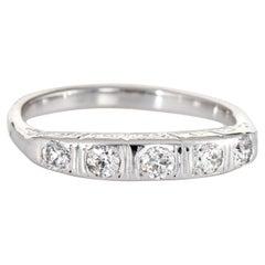 Vintage Diamond Band Wedding Ring 14 Karat Gold Estate Fine Bridal Jewelry 6.25