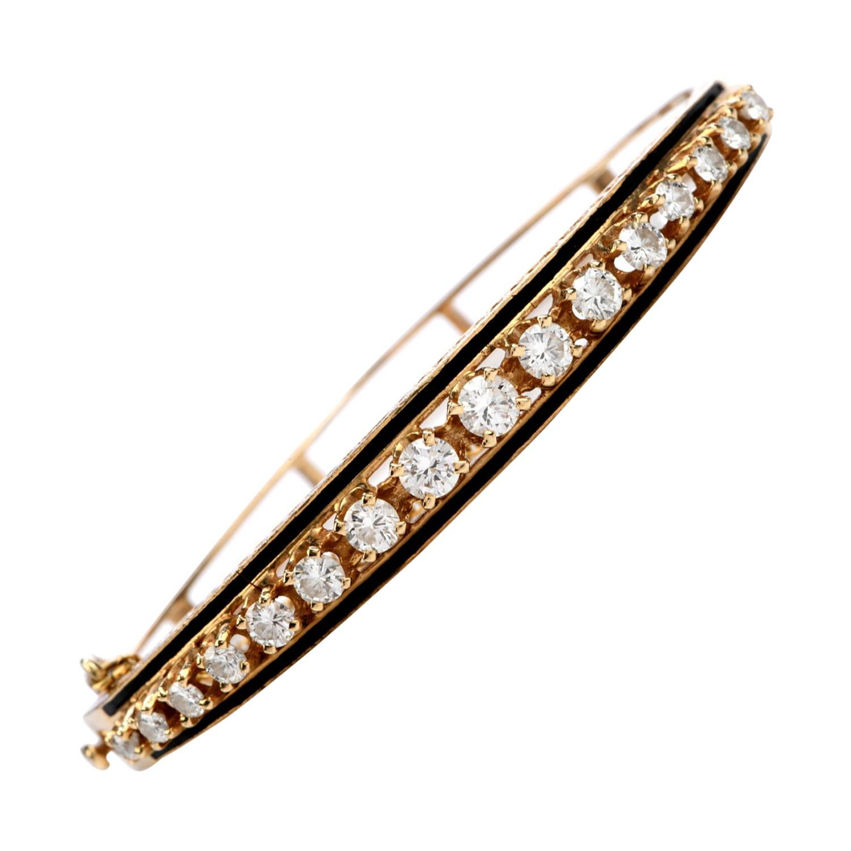 Vintage Diamond Black Enamel 14K Gold Bangle Bracelet