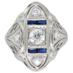 Vintage Diamond and Blue Sapphire Platinum Ring