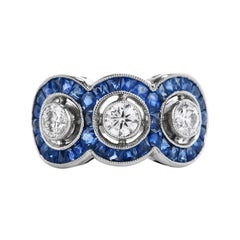 Vintage Diamond Blue Sapphire Platinum Three Halo Ring