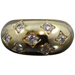 Vintage Diamond Bombe Ring, 18 Carat Yellow Gold, Late 20th Century